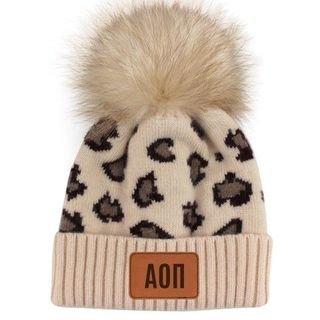 Alpha Omicron Pi Leopard Print Knit Pom Pom Beanies