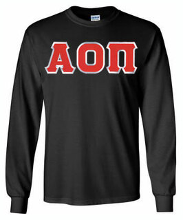 Alpha Omicron Pi Lettered Long Sleeve Tee- MADE FAST!