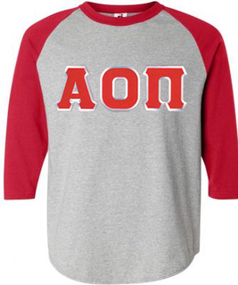 DISCOUNT-Alpha Omicron Pi Lettered Raglan Shirt