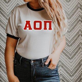 DISCOUNT-Alpha Omicron Pi Lettered Ringer Shirt