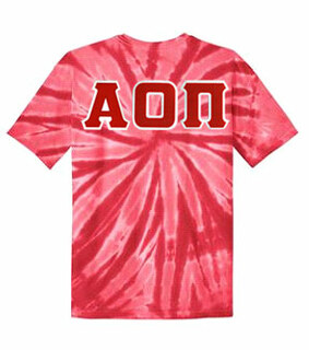 DISCOUNT-Alpha Omicron Pi Lettered Tie-Dye t-shirts for only $25!