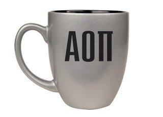 Alpha Omicron Pi Letters Engraved Bistro Mug