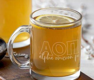 Alpha Omicron Pi Letters Glass Mug