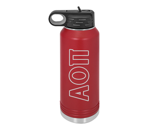 Alpha Omicron Pi Letters Stainless Water Bottle