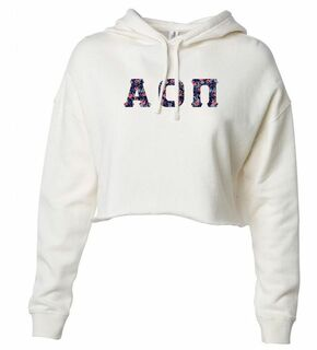 Alpha Omicron Pi Lightweight Hooded Pullover Crop Sweatshirt