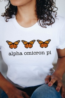 Alpha Omicron Pi Monarch Butterfly Short Sleeve T-Shirt - Comfort Colors