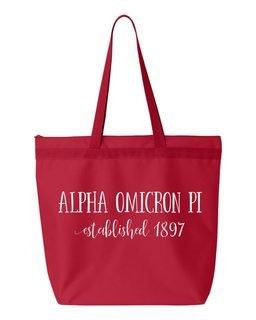 Alpha Omicron Pi New Established Tote Bag