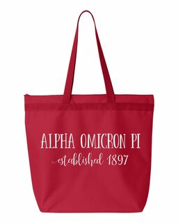 Alpha Omicron Pi New Established Tote Bag