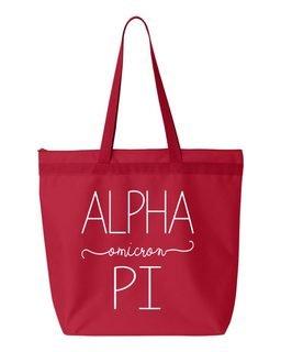 Alpha Omicron Pi New Handwriting Tote Bag