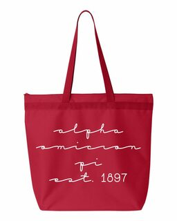 Alpha Omicron Pi New Script Established Tote Bag
