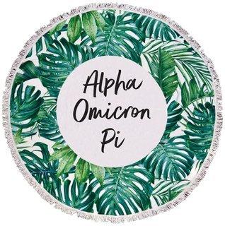 Alpha Omicron Pi Palm Leaf Fringe Towel Blanket