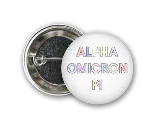 Alpha Omicron Pi Pastel Letter Button