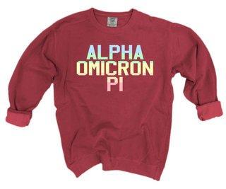 Alpha Omicron Pi Pastel Rainbow Crew - Comfort Colors