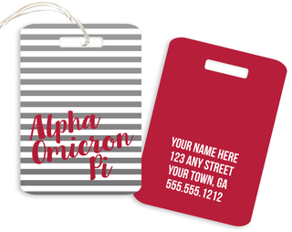 Alpha Omicron Pi Personalized Striped Luggage Tag