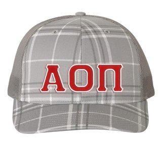 Alpha Omicron Pi Plaid Snapback Trucker Hat - CLOSEOUT