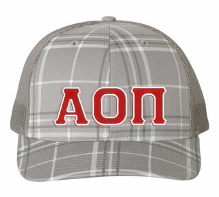 Alpha Omicron Pi Plaid Snapback Trucker Hat
