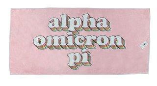 Alpha Omicron Pi Plush Retro Beach Towel