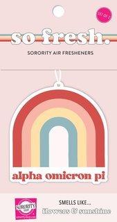 Alpha Omicron Pi Rainbow Retro Air Freshener - Flowers & Sunshine Scent