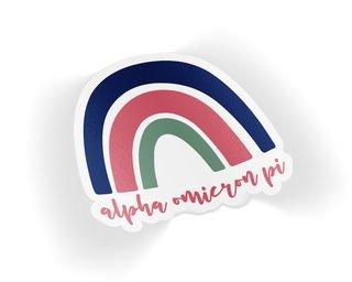 Alpha Omicron Pi Rainbow Sticker