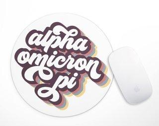 Alpha Omicron Pi Retro Script Mousepad