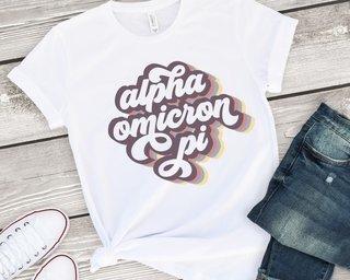 Alpha Omicron Pi Retro Script Tee