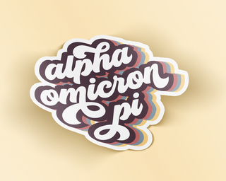Alpha Omicron Pi Retro Sticker