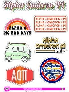 Alpha Omicron Pi Retro Sticker Sheet