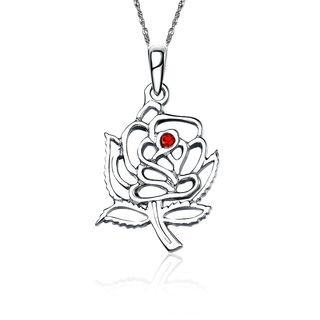 Alpha Omicron Pi Rose Silver Lavalier