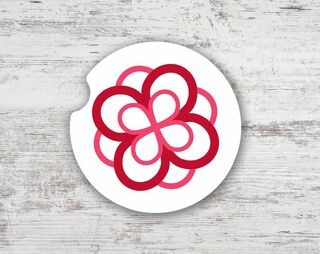 Alpha Omicron Pi Sandstone Rose Car Cup Holder Coaster