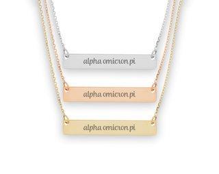 Alpha Omicron Pi Script Bar Necklace
