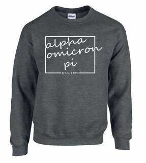 Alpha Omicron Pi Script Box Crewneck Sweatshirt