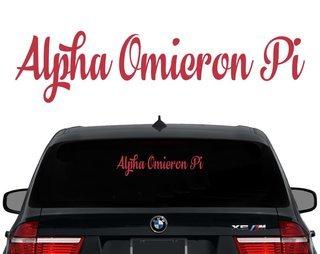 Alpha Omicron Pi Script Decal