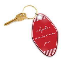 Alpha Omicron Pi Script Motel Keychain