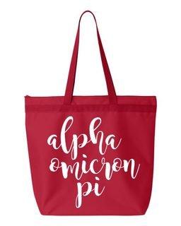 Alpha Omicron Pi Script Tote bag