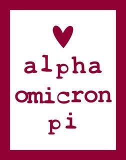 Alpha Omicron Pi Simple Heart Sticker