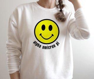 Alpha Omicron Pi Smiley Face Crewneck Sweatshirt