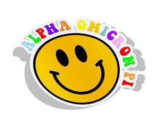 Alpha Omicron Pi Smiley Face Decal Sticker
