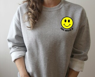 Alpha Omicron Pi Smiley Face Embroidered Crewneck Sweatshirt
