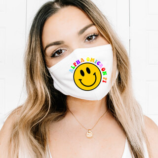 Alpha Omicron Pi Smiley Face Face Mask