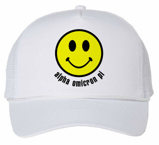 Alpha Omicron Pi Smiley Face Trucker Hat