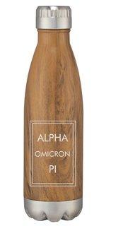 Alpha Omicron Pi Sorority Swig Stainless Steel Woodtone Bottle