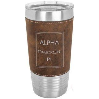 Alpha Omicron Pi Sorority Leatherette Polar Camel Tumbler