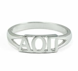 Alpha Omicron Pi Sterling Silver Letter Ring