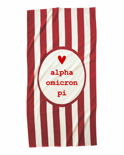 Alpha Omicron Pi Striped Beach Towel