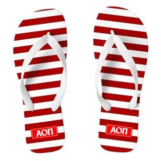 Alpha Omicron Pi Striped Flip Flops