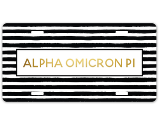 Alpha Omicron Pi Striped Gold License Plate