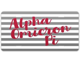 Alpha Omicron Pi Striped License Plate