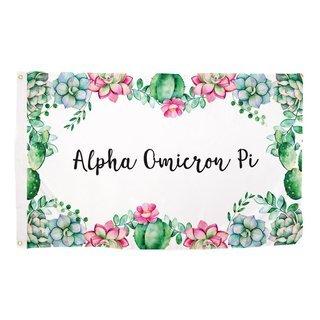 Alpha Omicron Pi Succulent Flag