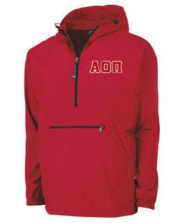 Alpha Omicron Pi Tackle Twill Lettered Pack N Go Pullover