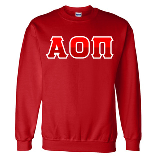 Alpha Omicron Pi Two Tone Greek Lettered Crewneck Sweatshirt